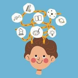 Kid creativity, mindmap and brainstorm vector illustration on blue background