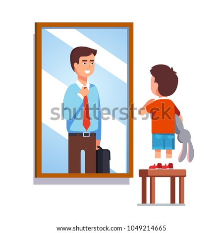Kid dreaming about becoming business man in future. Boy imagining himself grown up entrepreneur fixing necktie looking at mirror reflection. Kid fantasy goal. Flat isolated vector illustration