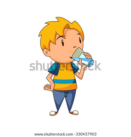 kid drinking water  vector