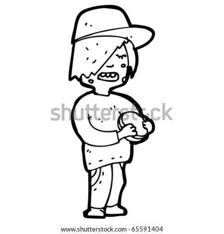 Unhealthy Child Drawing Kid Eating Burger Cartoon