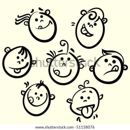 Kids Faces Vector Kid Face Vector Cartoon