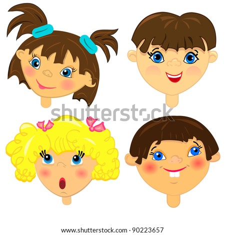 kid faces vector set.isolated characters illustration.none background - stock vector
