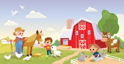 Kid feed the animals at the farm.Girl feeding rabbits. Boy feeding horse. Farmer with horse. Summer countryside background. Old MacDonald . Old farmer stay stay beside horse. Farm building.