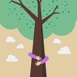 Kid hands hug tree. Eco friendly concept