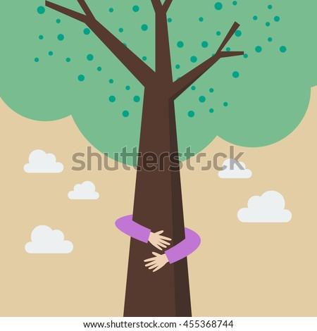 kid hands hug tree eco