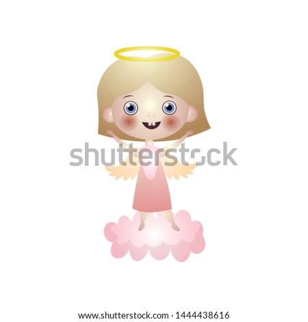 kid happy angel brunette with