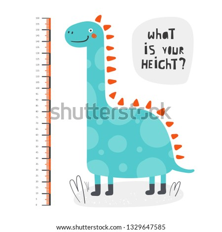 Kid height measurement, centimeter, chart with dinosaur for wall, room interior. Funny dino for children