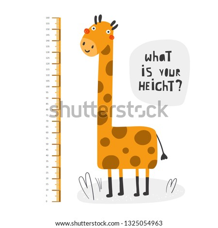 Kid height measurement, centimeter, chart with giraffe for wall, room interior. African animal for children