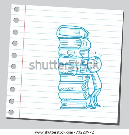Kid hugging a book pile