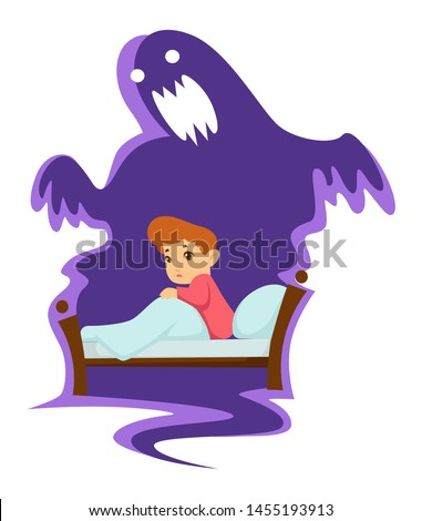 Kid in bed nightmare childish fear monster isolated character vector ghost fantasy nursery or bedroom boy in pajamas under blanket scary shadow, phobia growing up child on bed with blanket and pillow Сток-фото ©