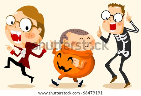 Kid in Halloween Party with Costume. Vector Illustration