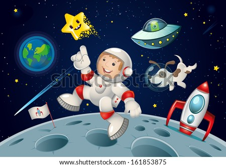 kid jumping in space