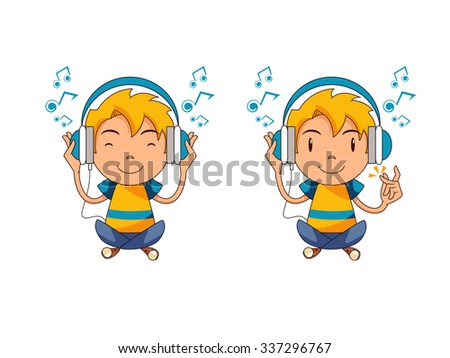 kid listening to music  vector