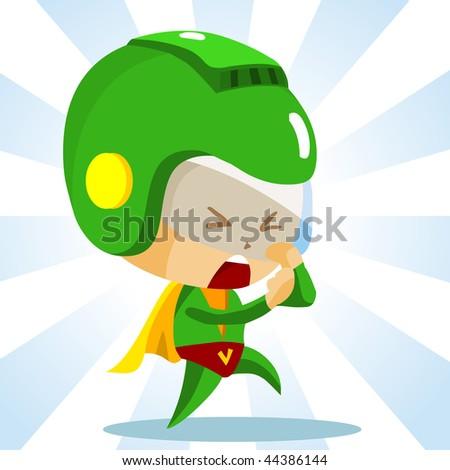Kid play Superhero. Detailed vector Illustration. - stock vector