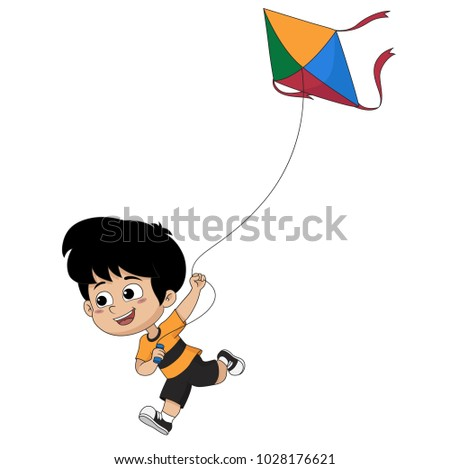 kid playing a kitevector and