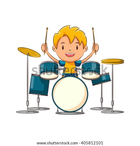 kid playing drums  vector