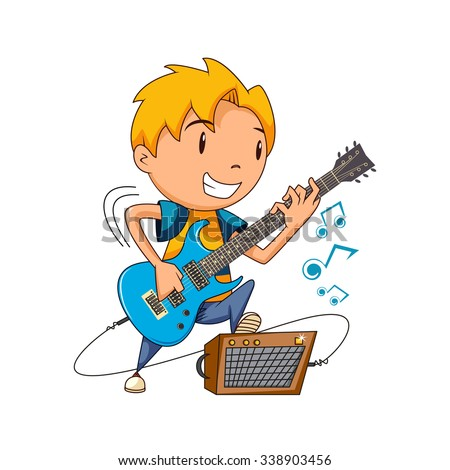 kid playing electric guitar