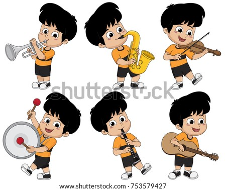 Kid playing musical instruments such as trumpet,saxophone,violin,drum,clarinet and guitar.Vector and illustration.