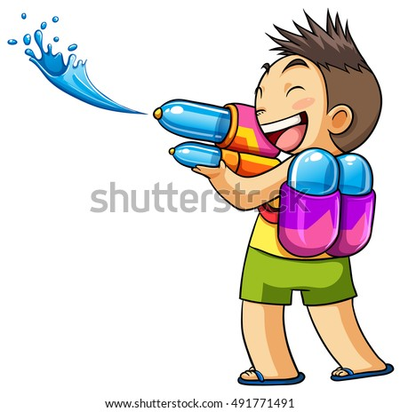 kid playing water gun vector
