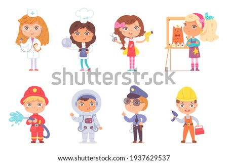Kid professions set. Cute children with professional occupations vector illustration. Boys and girls as doctor, cook, hairdresser, artist, fireman, astronaut, police, builder on white background. Сток-фото ©