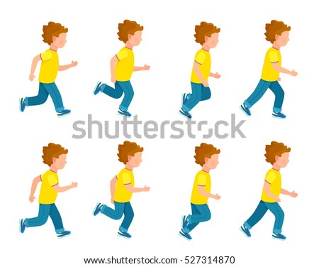 kid running animation set boy