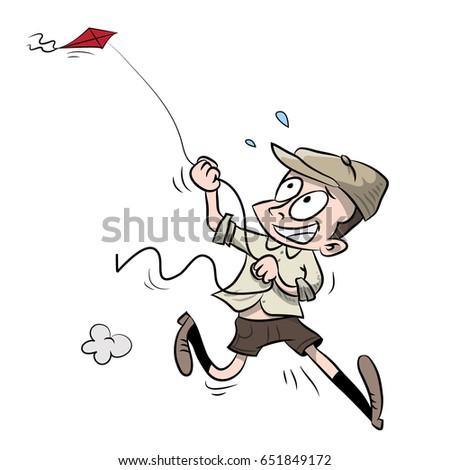 kid running kite