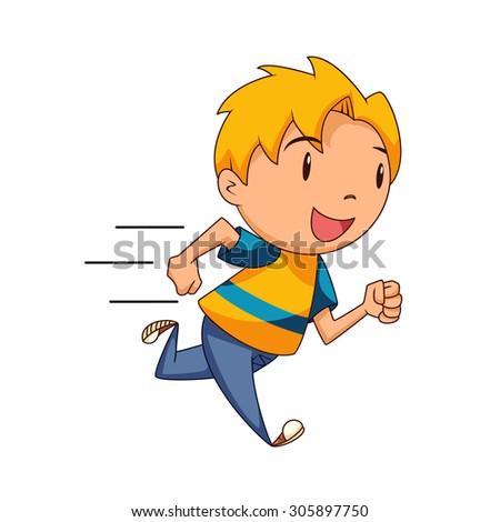 Kid running, vector illustration stock photo