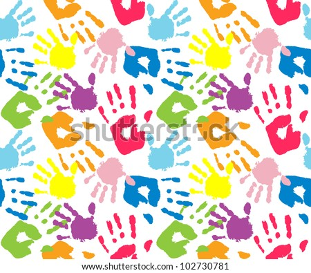 Kid's and mother's handprint, seamless pattern