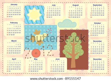 kid's calendar with patchwork application