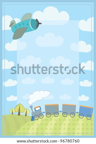 kid's frame with train and plane