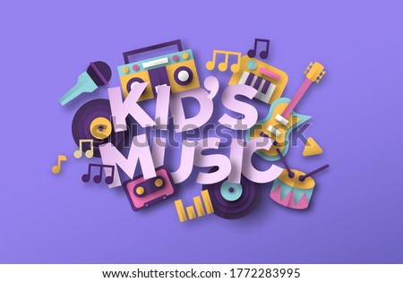 Kid's music style illustration with 3d paper cut musical toy icons. School band, sound education or fun children concert event concept. Includes microphone, guitar, piano instrument.