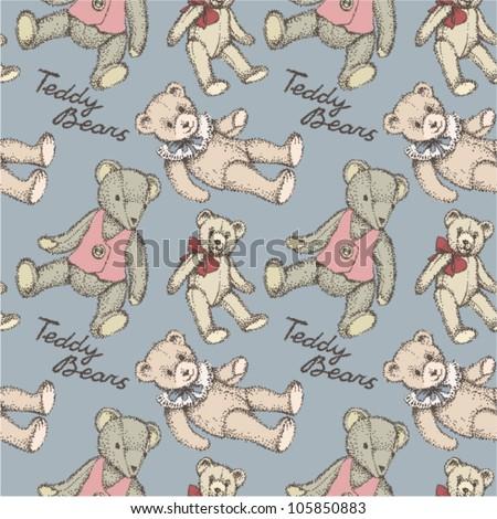 Kid S Vintage Pattern Teddy Bears On Grey Ez Canvas