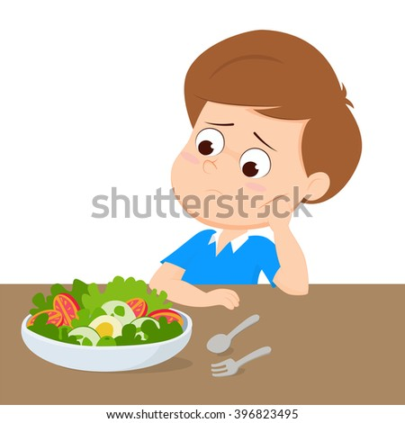kid sad with your breakfast.vector and illustration