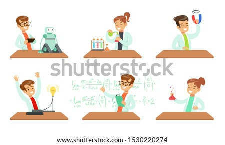 Kid Scientists Set, Boys and Girls in Lab Coats Doing Experiments in the Laboratory Vector Illustration