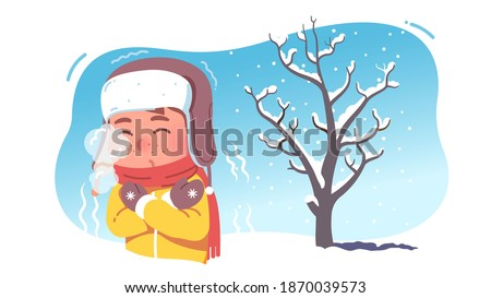 Kid shivering in chilling cold winter season weather. Freezing child wearing earflaps hat and scarf experiencing below zero temperature outdoors blowing mouth steam. Flat vector character illustration Foto stock ©