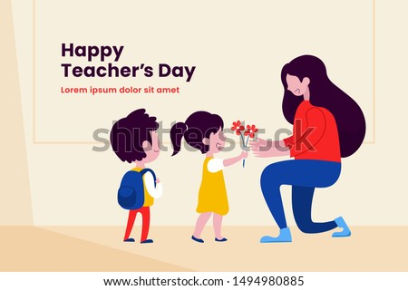 Kid student giving flower to her teacher flat illustration for happy teacher's day background poster concept graphic design.