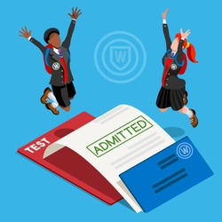 Kid student school college university admission certificate. People jump for joy test passed. 3D Isometric person icon set. Creative design vector illustration collection