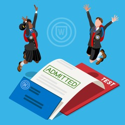 Kid student school college university exam admission certificate. People jump for joy test passed. 3D Isometric person icon set. Creative design vector illustration collection