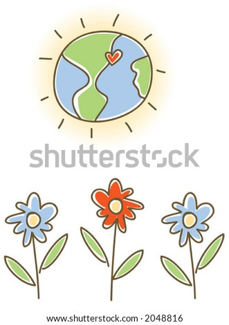 Kid style earth and flowers