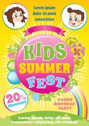 Kid Summer Fest Invitation, colorful vector background