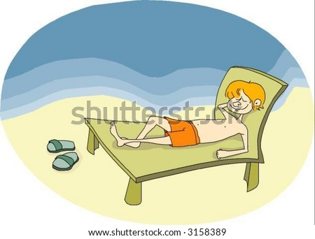 Kid tanning deck chair near the sea - See my portfolio for more great vectors!
