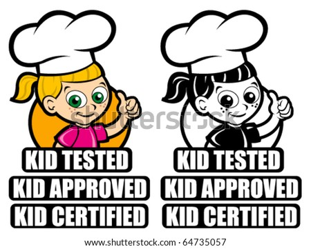 Kid Tested Icon / Mark / Seal. Version Girl Cooker