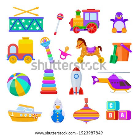 Kid toys. Drum and train, penguin and truck, ball and ship, helicopter and rattle, pacifier and cubes, rocket. Children toy vector set ストックフォト ©