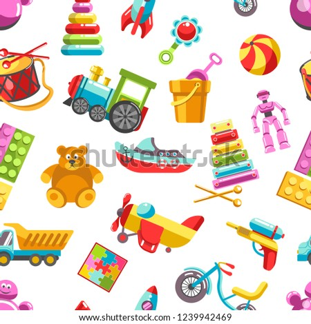 Kid toys vector icons seamless pattern. Children playthings set