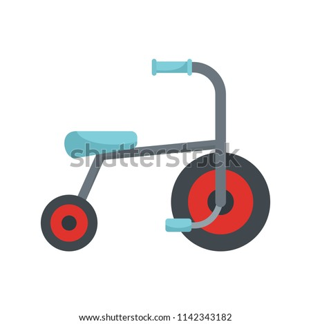 Kid tricycle icon. Flat illustration of kid tricycle vector icon for web isolated on white