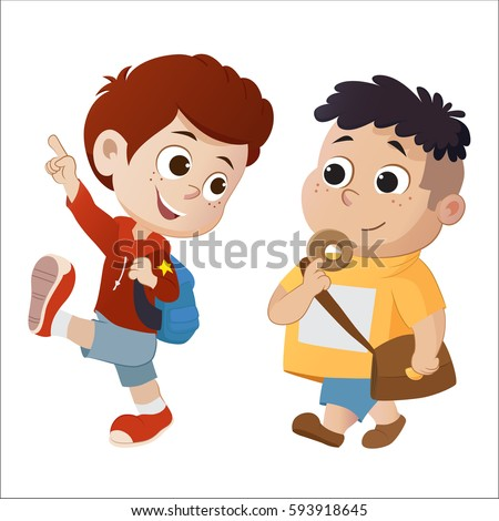 kid walking and talking.back to school.Vector and illustration.
