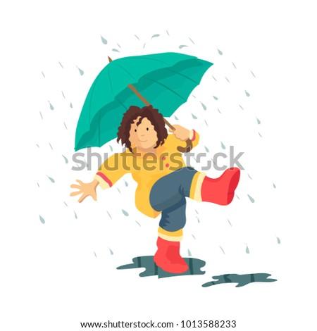 kid walking under the rain with