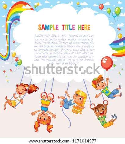 Kid weighs on the rings upside down. Climbing up along the rope. Swinging on swing. Template is ready for advertising of children's Entertainment Center or Amusement Park. Ready for your message