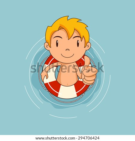 kid with lifebuoy floating on