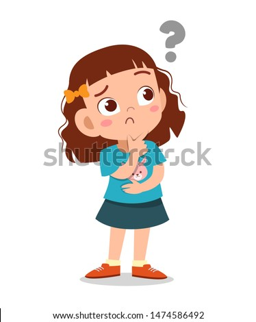 kid with question mark curious vector Stock photo ©